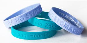 Kia Kaha and No Stomach for Cancer wristbands.