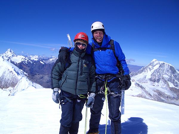 Hayley Fowler on the summit of Tocllaraju, Peru