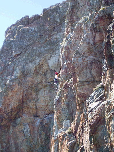 Hayley Fowler leading a climb in Wales.
