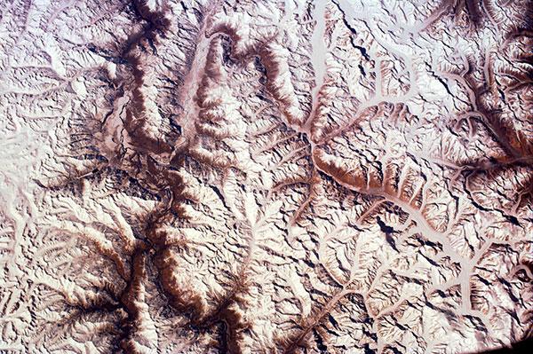 Aerial view of glaciers in the Karakoram range.
