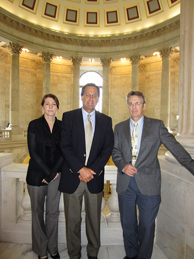 The author with Rick Bostock (center) and Jim Stack (right) in the  Russell Senate Office Building on Capitol Hill.